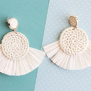 White Woven Earrings